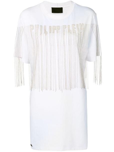 Philipp Plein beaded logo T-shirt dress in white