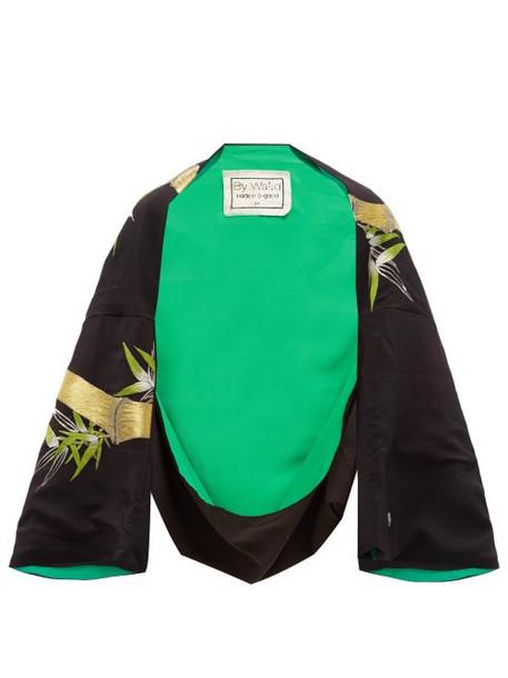 By Walid - Fatma Embroidered Chinese Silk Kimono - Womens - Green Multi