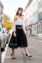 the fashion fraction,blogger,top,belt,bag,jewels,midi skirt,gold,eyelet detail,eyelet skirt,off the shoulder top,off the shoulder,black skirt,black bag,chanel bag,buckle belts,double buckle belt