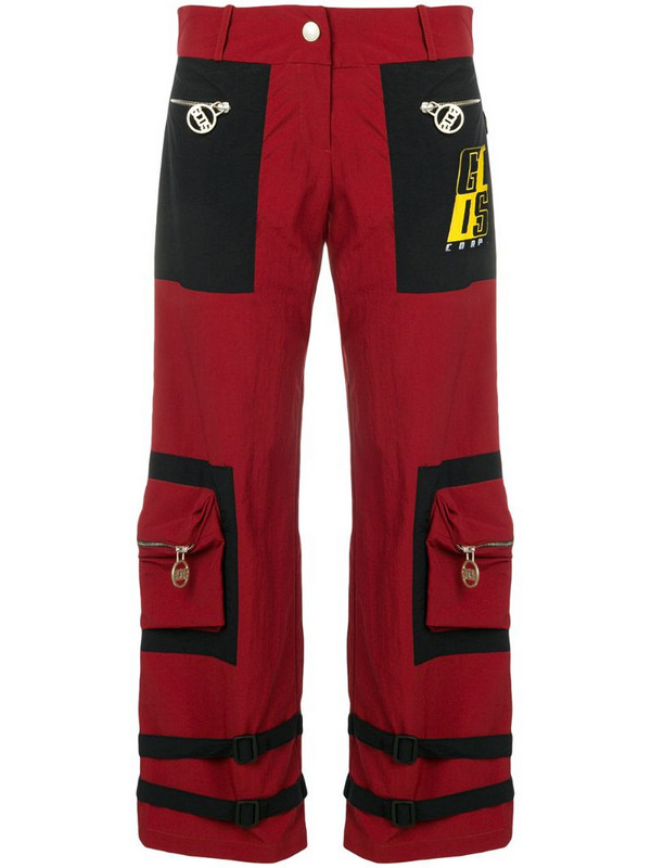 Gcds buckle strap detail cropped trousers in red