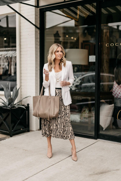 onesmallblonde blogger jacket skirt shoes top sweater blouse belt scarf spring outfits blazer pumps midi skirt tote bag