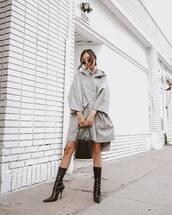 bag,handbag,high heels boots,balenciaga,grey coat,sunglasses