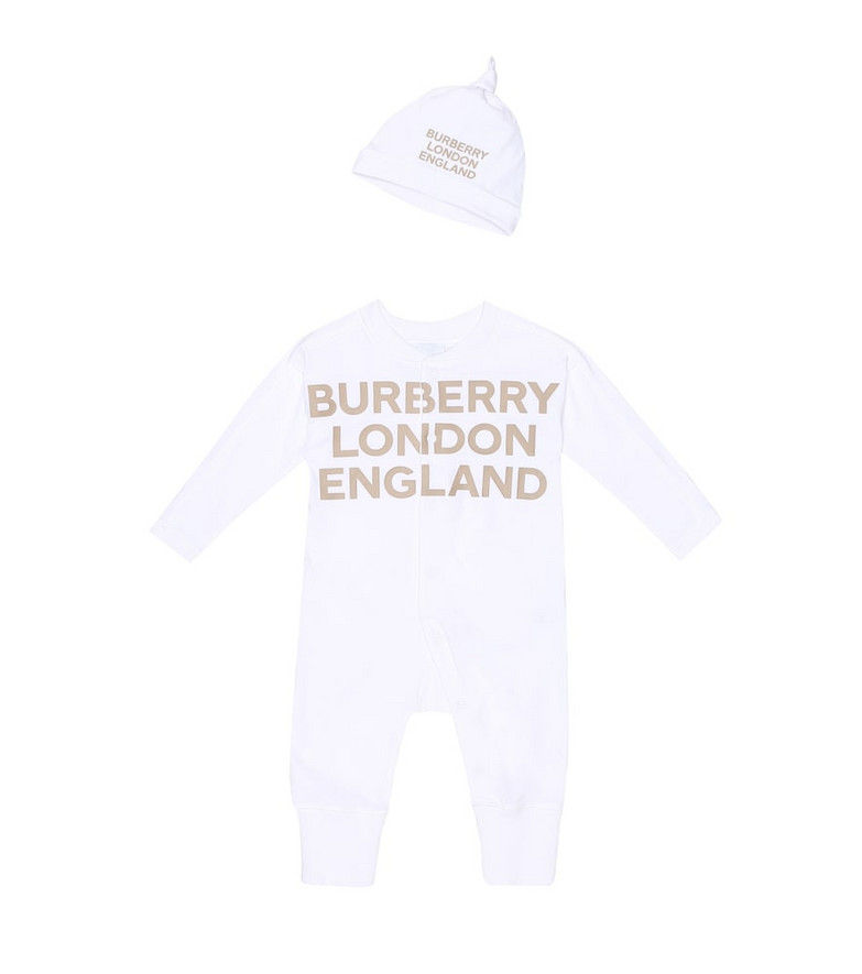 Burberry Kids Baby Cleo cotton onesie and hat set in white
