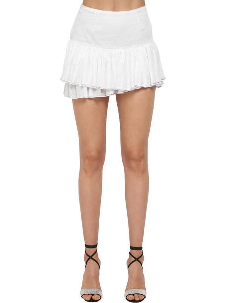 ALEXANDRE VAUTHIER Crystal Ruffled Cotton Mini Skirt in white