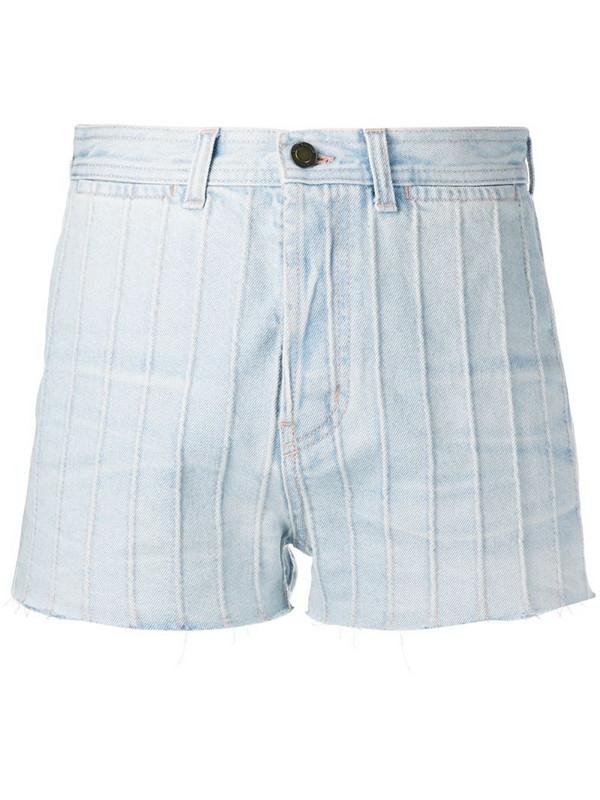 Saint Laurent high waist denim shorts in blue