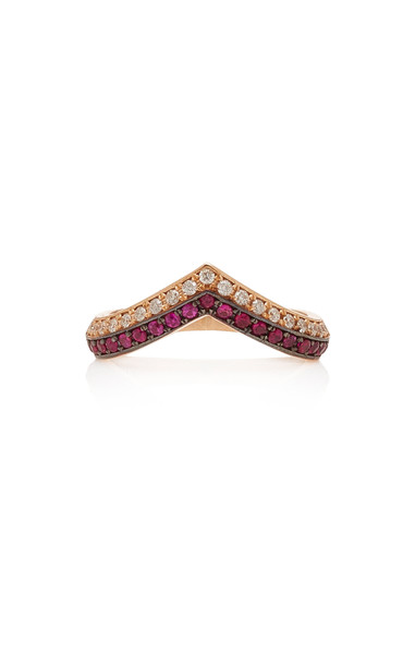 TULLIA 14K Rose Gold Diamond And Ruby Ring in red