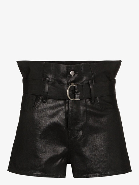 FRAME Le Bootie coated cotton shorts in black