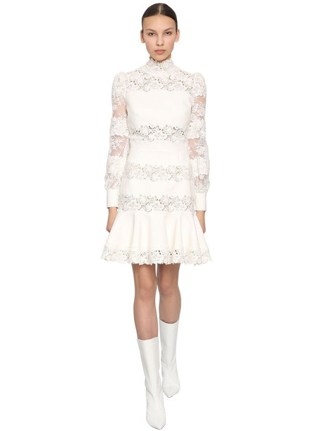 INGIE PARIS Lace & Cady Mini Dress in white