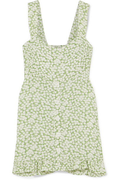 Faithfull The Brand - Lou Lou Ruffled Floral-print Crepe Mini Dress - Light green