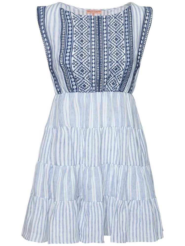 ERMANNO SCERVINO Sleeveless Striped Linen Mini Dress in blue / white