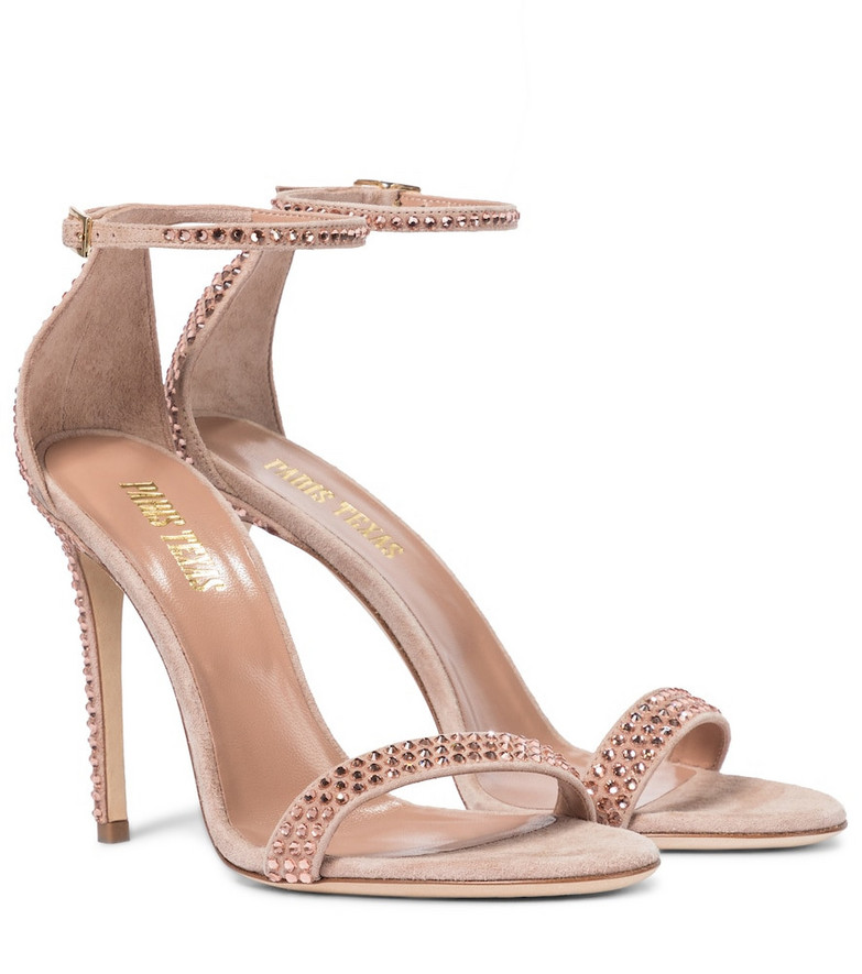 Paris Texas Holly embellished suede sandals in pink