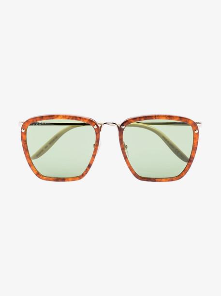 Gucci Eyewear Brown Havana square sunglasses