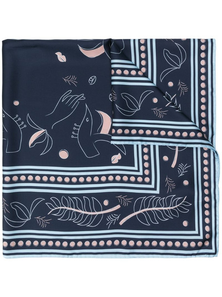 Ports 1961 abstract-print scarf in blue