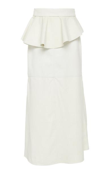 Johanna Ortiz Bewildering Leather Peplum Midi Skirt Size: 4 in white