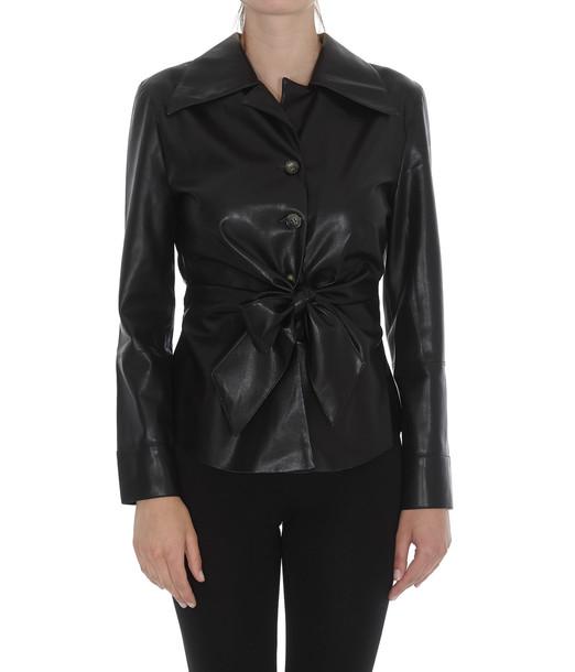Nanushka Eco Leather Shirt in black