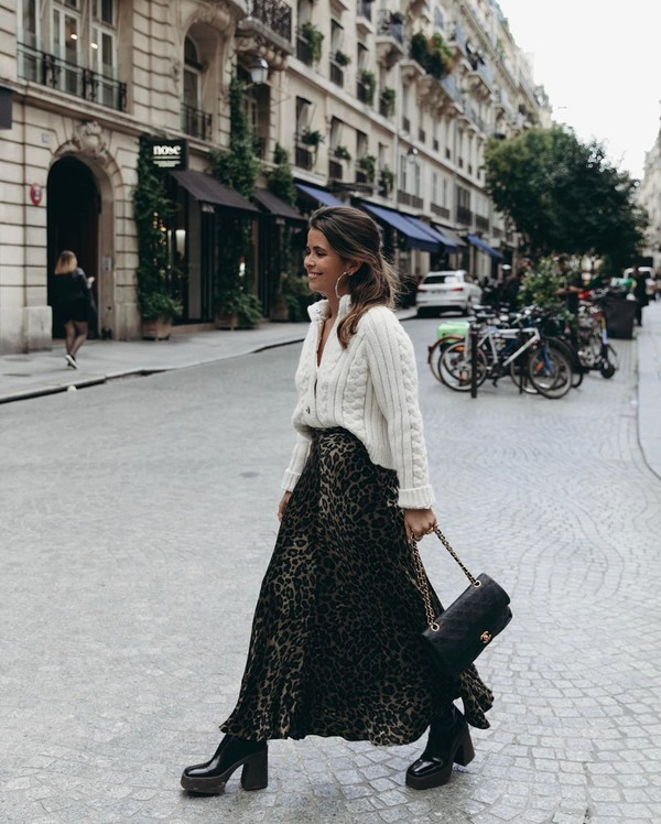skirt maxi skirt leopard print platform boots black boots chanel bag black bag white sweater cardigan cable knit