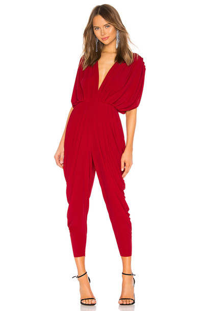 Norma Kamali Square Sleeve Waterfall Jumpsuit in red
