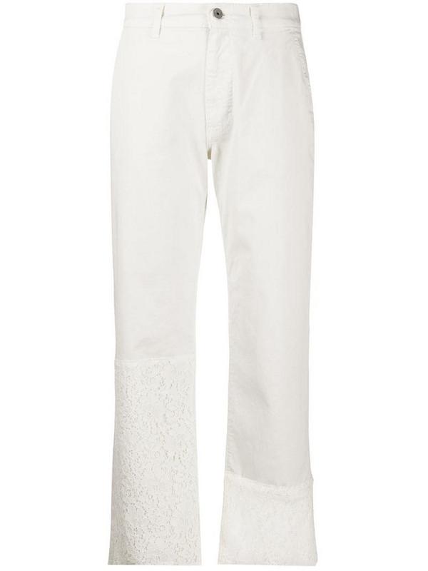 Mr & Mrs Italy logo straight leg trousers in white