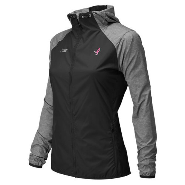 New Balance 5128 Women's Pink Ribbon Surface Run Jacket - Black, Grey, Anthracite Heather (RWRJ5128BGR)