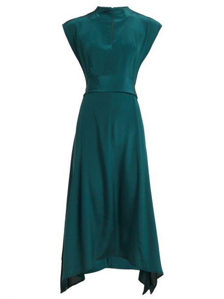 Cefinn - Handkerchief Hem Silk Crepe De Chine Dress - Womens - Dark Green