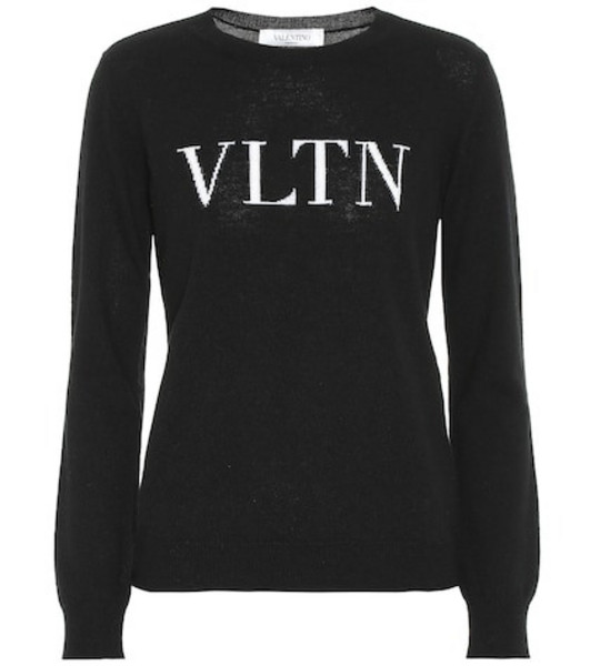 Valentino VLTN wool and cashmere sweater in black