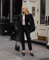 jacket,black blazer,double breasted,mules,black bag,chanel bag,black jeans,high waisted jeans,straight jeans,sweater