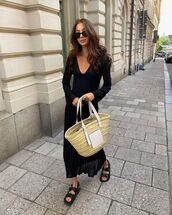 dress,black dress,pleated dress,maxi dress,flat sandals,loewe bag