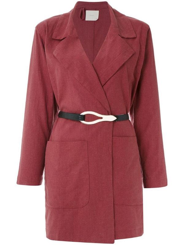 Framed Linen coat in red