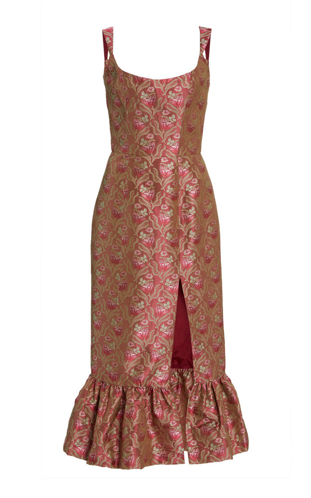 Markarian Exclusive Gertrude Silk Brocade Midi Dress in pink