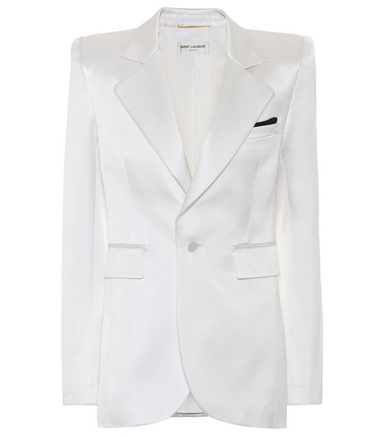 Saint Laurent Silk-blend satin blazer in white