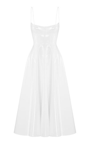 Alex Perry Holt Sleeveless Vinyl Midi Dress in white