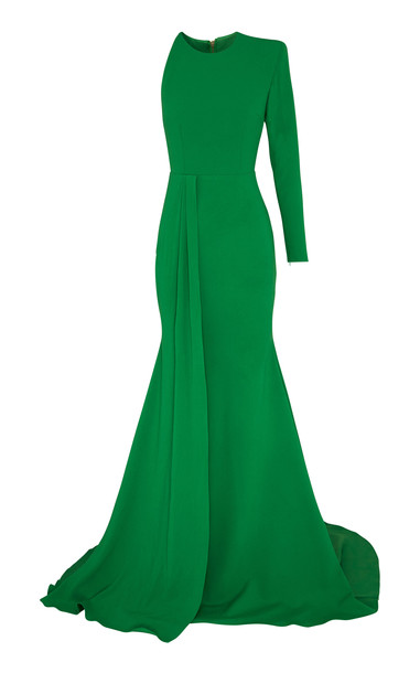 Alex Perry Julian One Shoulder Satin Crepe Gown Size: 12 in green