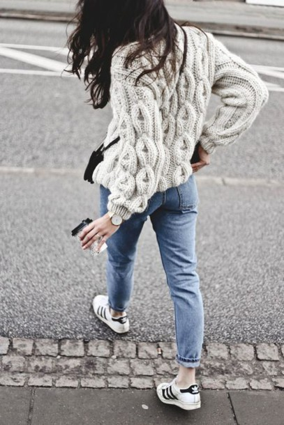 sweater straight jeans cable knit winter sweater off-white sweater fall outfits back to school