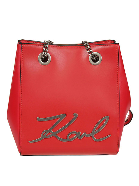 Karl Lagerfeld Signature Bucket Bag in red