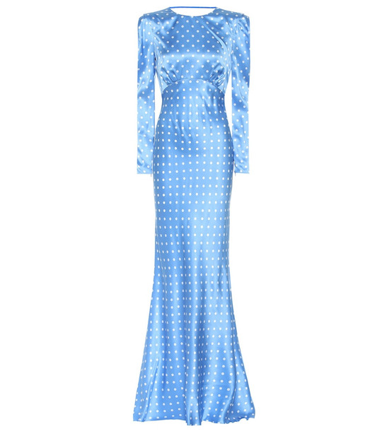 Alessandra Rich Polka-dot silk dress in blue