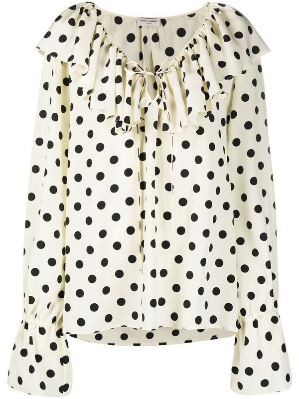Saint Laurent ruffle collar polka-dot print blouse in white