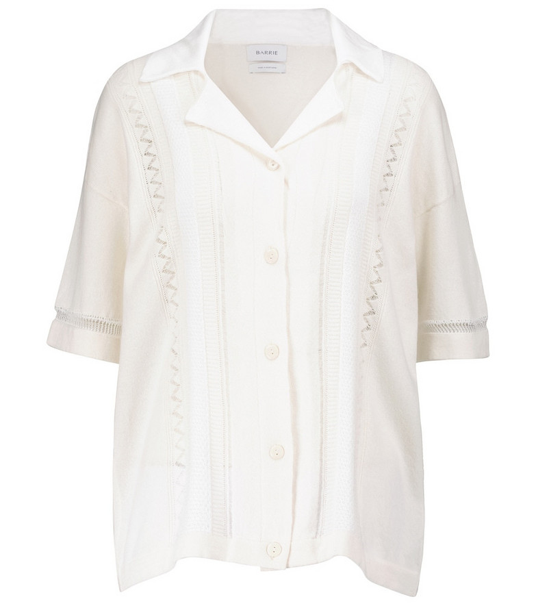 Barrie Crochet cotton and cashmere cardigan in white