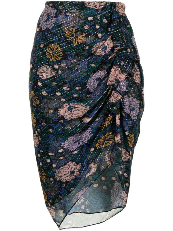 Veronica Beard ruched floral-print skirt in black