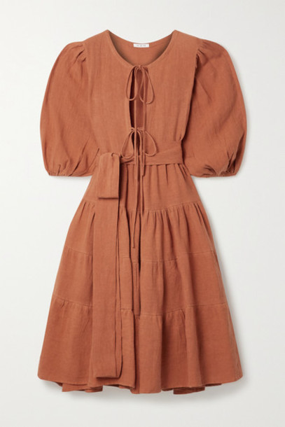 Fil De Vie - Medina Belted Tiered Linen Midi Dress - Orange