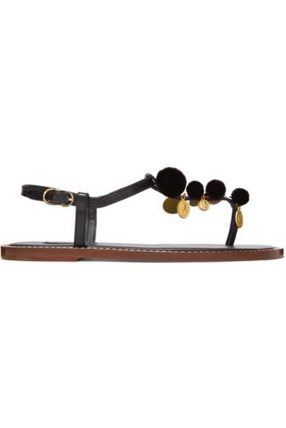 Dolce & Gabbana - Pompom And Charm-embellished Lizard-effect Leather Sandals - Black
