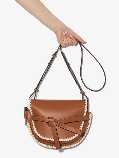 Loewe brown Gate crochet small leather shoulder bag