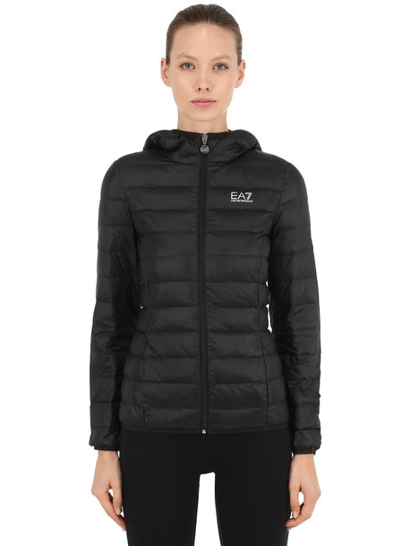 EA7 EMPORIO ARMANI Hooded Train Core Light Down Jacket in black