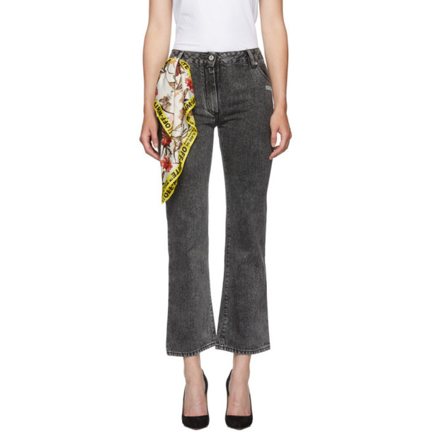 Off-White Grey Bleached Cropped Jeans