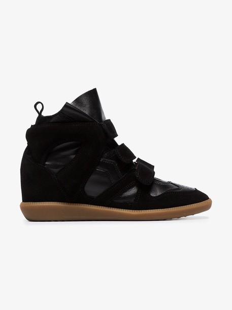 Isabel Marant black Buckee suede trim wedge hi-top sneakers