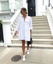 dress,white dress,long sleeve dress,h&m,white sneakers,gucci,black bag