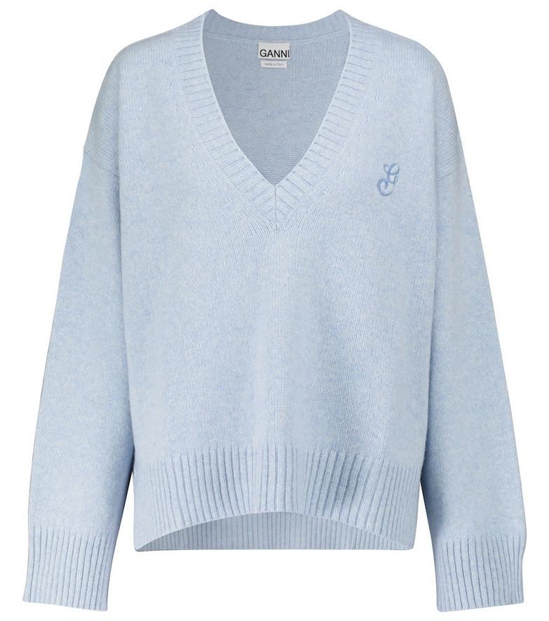 GANNI Wool-blend sweater in blue