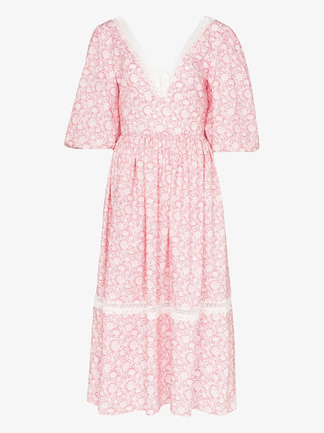 Masterpeace pouf sleeve floral midi dress in pink