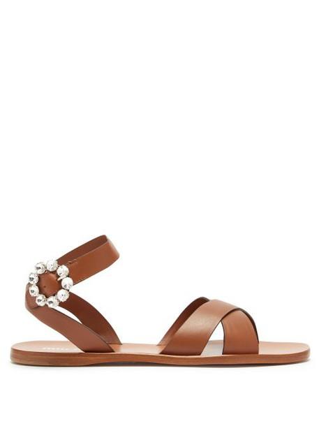 Miu Miu - Crystal Buckle Leather Sandals - Womens - Tan