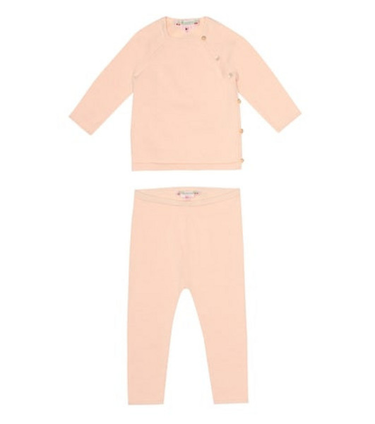 Bonpoint Cotton shirt and pant set in pink