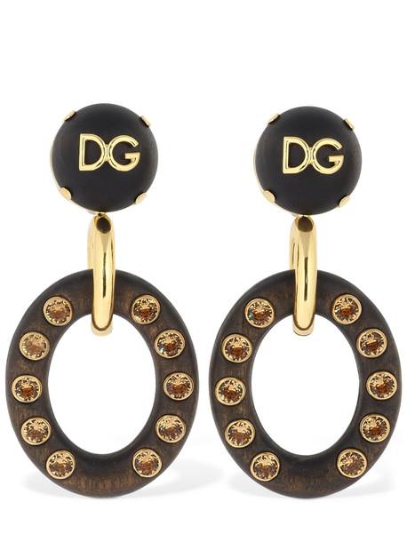 DOLCE & GABBANA Dg Wood Pendant Earrings W/ Crystals in brown